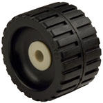 "Ribbed Roller Black Natural Rubber, 5/8"" Shaft"