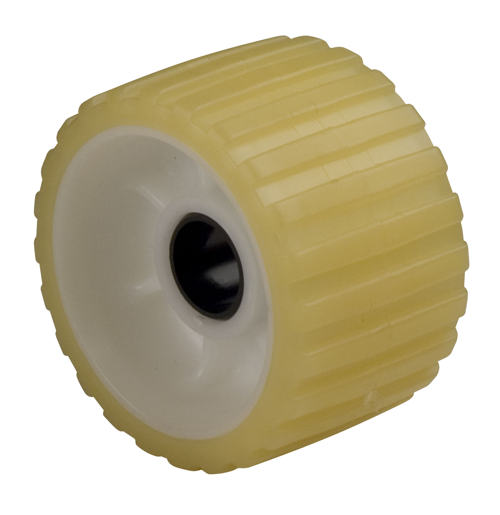 "Ribbed Roller Yellow Tpr, 1-1/8"" Shaft MAIN"