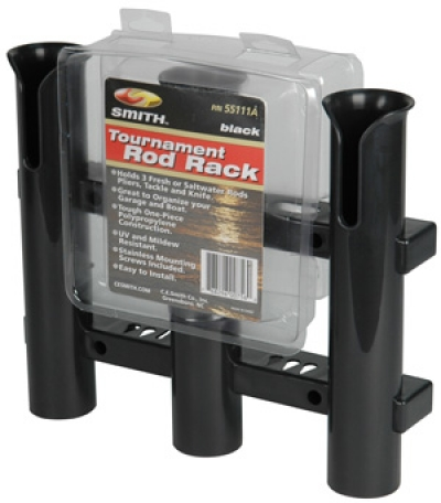 Tournament 3 Rod Rack- Black