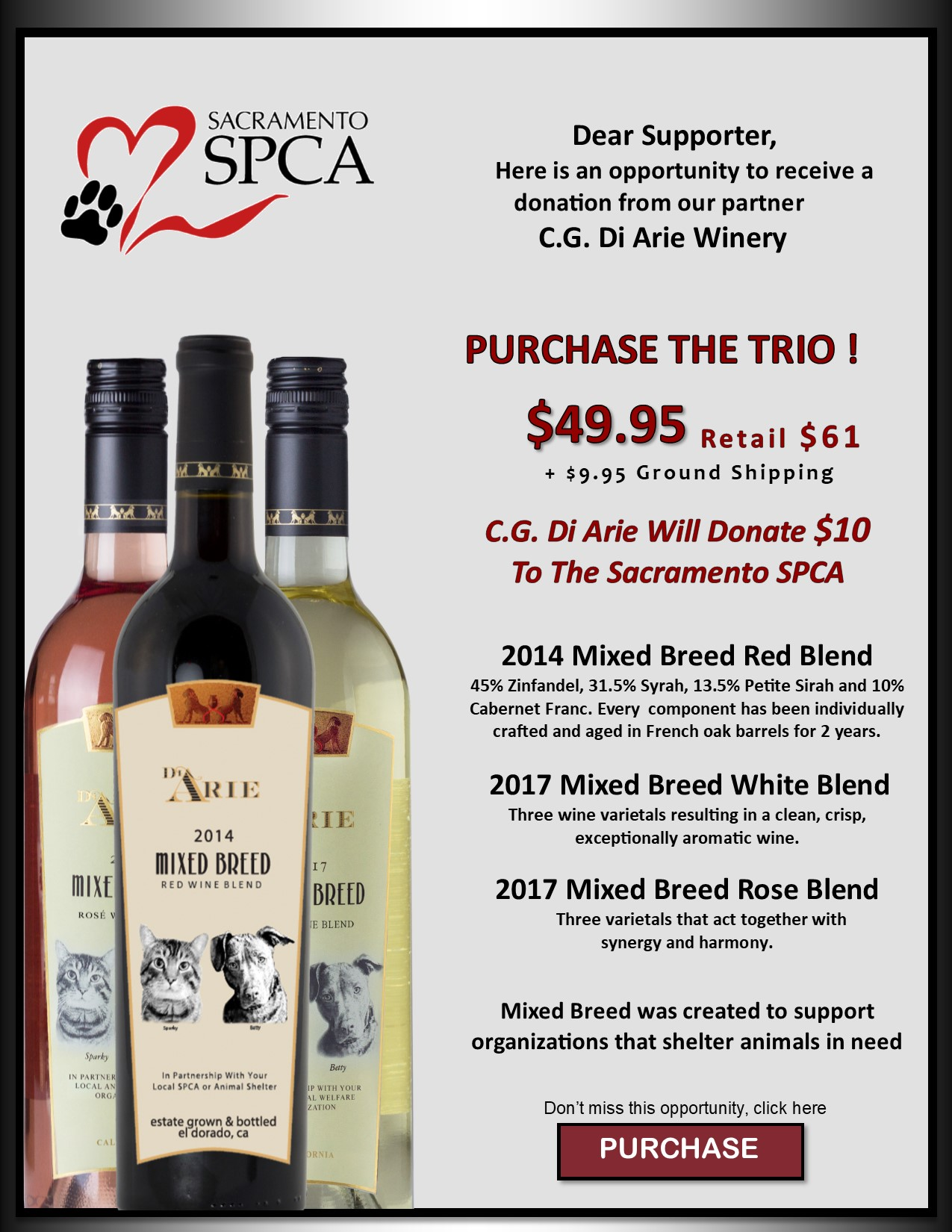 "Sacramento SPCA Trio ""3 Great Products In One Package!"" MAIN"