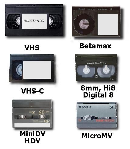 Consmer Video Tapes - VHS, MiniDV, Betamax, Hi8, and More