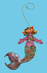 Mermaid facing forward Polymer Clay Ornament