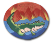 Alligator Polymer Clay Magnet or Pin