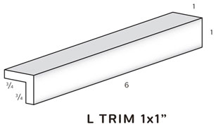 "L Trim is 1 "" tall and 1"" wide SWATCH"