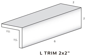 "L Trim is 2 "" tall and 2"" wide THUMBNAIL"