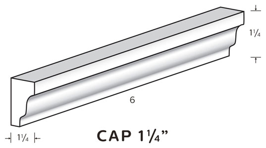 "Cap Trim is 1 1/4"" tall and 1 1/4"" wide MAIN"