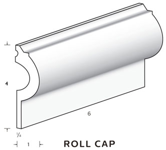"Roll Cap Trim 4"" tall and 1"" deep 1/4"" thick MAIN"