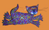 Cat Leaping Polymer Clay Wall Sculpture