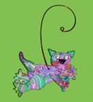 Cat Leaping Polymer Clay Ornament THUMBNAIL