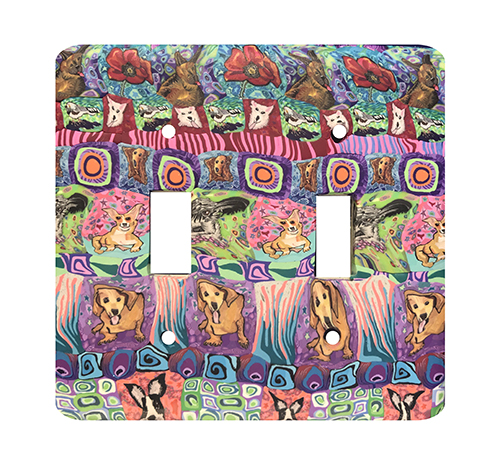Dog Quilt Silly Milly Switch Plate SWATCH