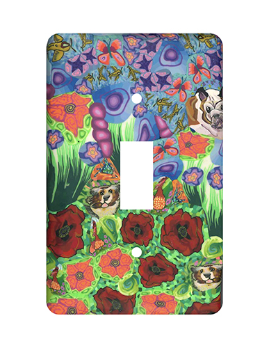 Dogs in the Garden Silly Milly Switch Plate MAIN