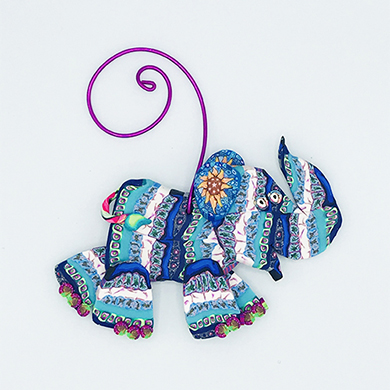 Elephant  Polymer Clay Ornament THUMBNAIL