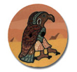 hawk button, large bird, faclon THUMBNAIL