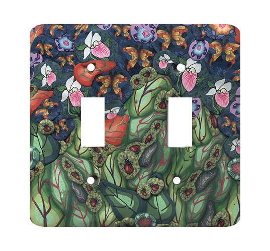 Garden Scene with Bugs Silly Milly Switch Plate MAIN