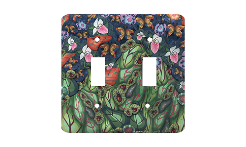 Garden Scene with Bugs Silly Milly Switch Plate SWATCH