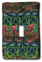 Gold and Green Garden Quilt Silly Milly Switch Plate_MAIN
