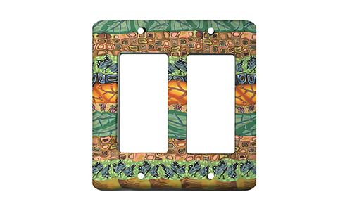 Gold and Green Garden Quilt Silly Milly Switch Plate SWATCH