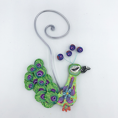 Peacock Polymer Clay Ornament THUMBNAIL