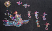 Wall sculpture of a woman on a boat pulled by seven whimsical seahorses. MAIN