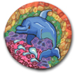 Rainbow Dolphin  Polymer Clay Magnet or Pin