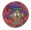 Scarecrow in a Purple Hat Polymer Clay Magnet or Pin