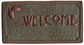 Craftsman welcome sign pine-cone, green & copper glaze