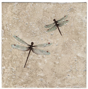 Double Dragonfly 6 Inch Tile Clay Squared Decorative Tiles