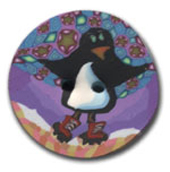 Penguin in Boots Polymer Clay Button