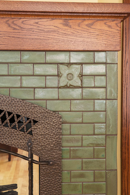 Solid medieval pesto tile clay squared decorative tiles for Arts and crafts tile fireplace