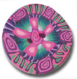 Pink Burst Flower Polymer Clay Button THUMBNAIL