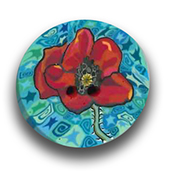 Poppy Polymer Clay Button MAIN