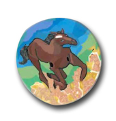 Running Horse Polymer Clay Button MAIN