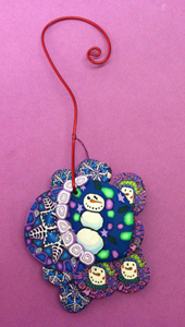 Snowman with snowflakes Polymer Clay Ornament
