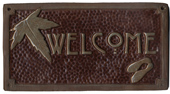 Craftsman welcome sign Maple Leaf, chocolate & green glaze