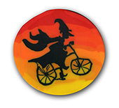 Wicked Witch on her Bike Polymer Clay Magnet or Pin