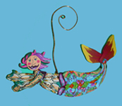 Mermaid swimming Polymer Clay Ornament THUMBNAIL