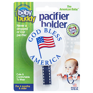 Baby Buddy American Baby Pacifier Holder - God Bless America