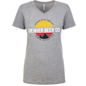 Denver Beer Co Women's V-Neck with Colorado Sunset THUMBNAIL