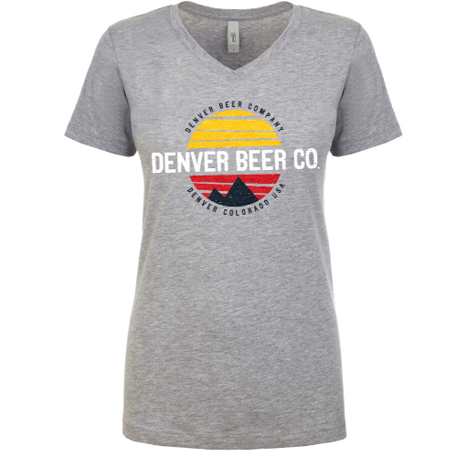 Denver Beer Co Women's V-Neck with Colorado Sunset MAIN