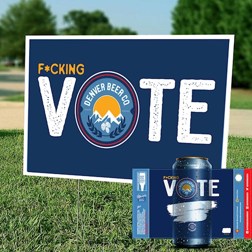 *PRE-ORDER* F*cking Vote Package - Yard Sign, 32oz. Crowler & Sticker THUMBNAIL