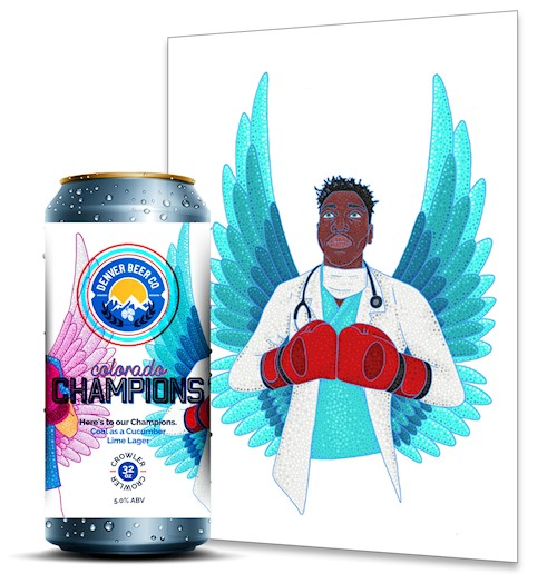 *Colorado Champions (32 Oz. Crowler) & Frontline Fighter 11x14 Signed Print THUMBNAIL