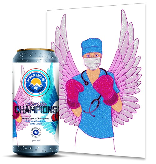 *Colorado Champions (32 Oz. Crowler) & Healthcare Hero 11x14 Signed Print THUMBNAIL