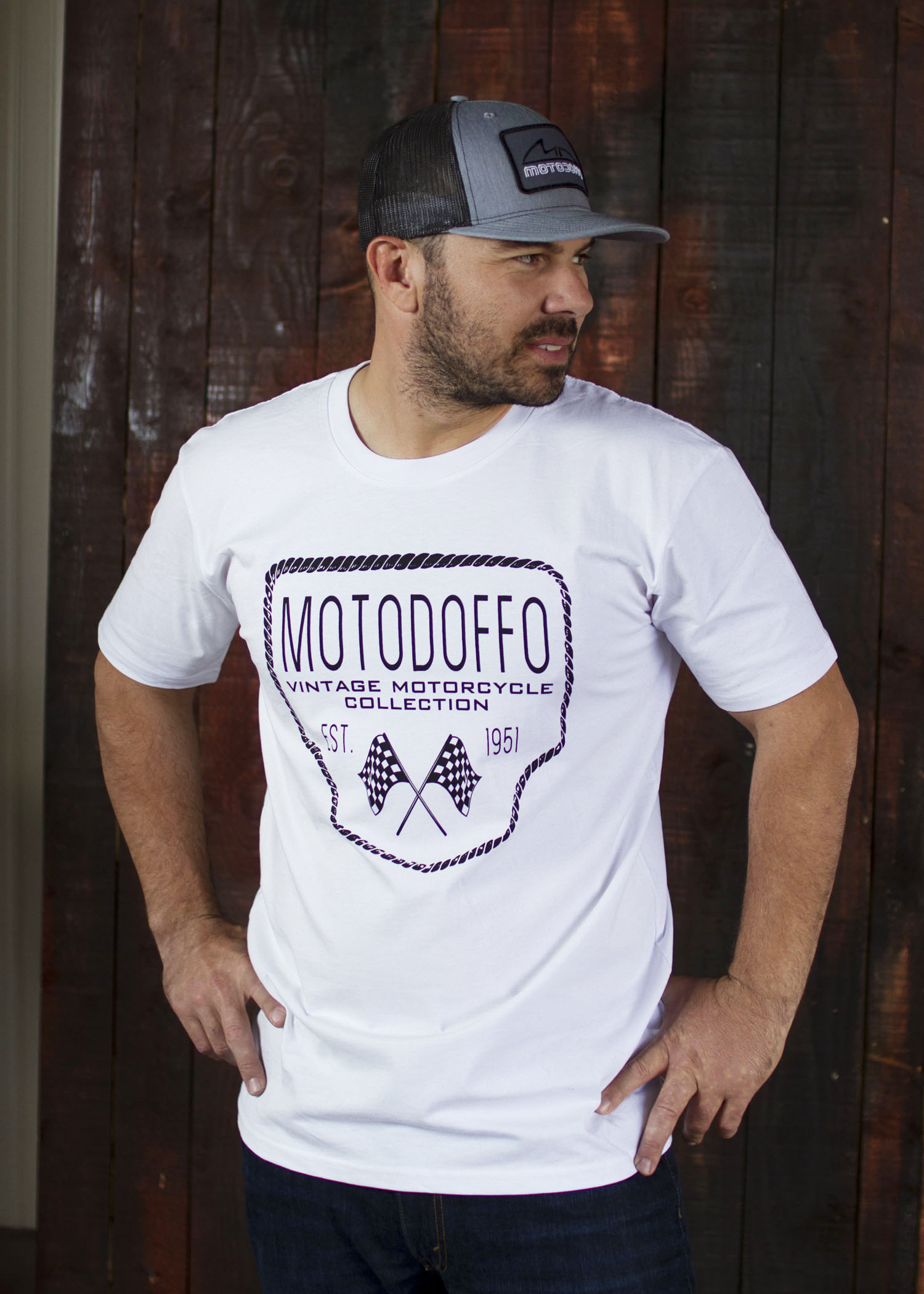 MotoDoffo T Shirt White w/ Rope