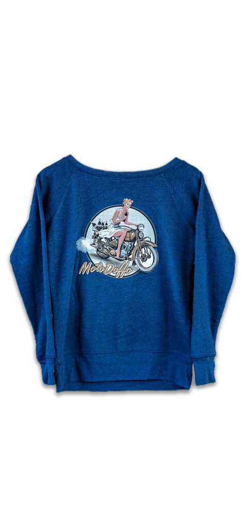 Women's Moto Pin-Up Navy Fleece THUMBNAIL