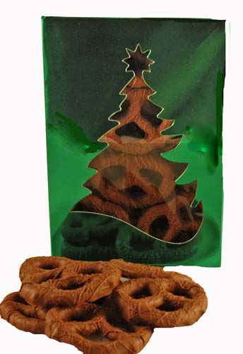 Chocolate Covered Pretzels in Holiday Box THUMBNAIL