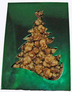 Chocolate Drizzled Caramel Popcorn in Holiday Box THUMBNAIL