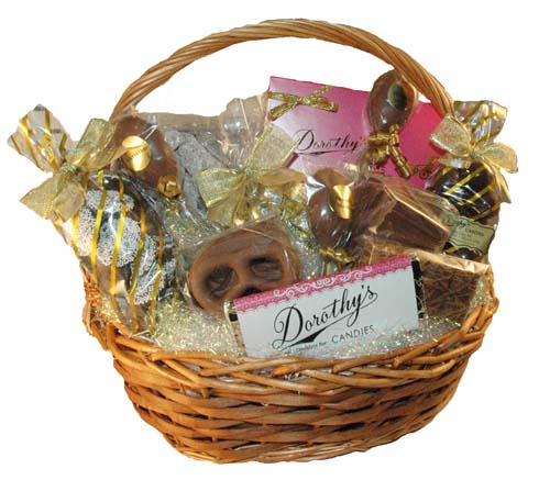 Gift baskets, mugs, and other beautiful items filled with chocolates
