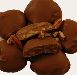 pecans, chocolates, and caramel