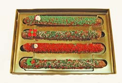 Seasonally Decorated Chocolate Covered Pretzel Rods