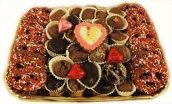 Large party tray laden with Pretzels, hand-crafted chocolates and hand painted piece_THUMBNAIL